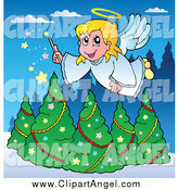 Illustration Vector Cartoon of a Blond Christmas Angel Girl with a Magic Wand over Trees by Visekart
