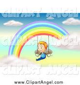 Illustration Vector Cartoon of a Blond White Angel Boy on Rings Under a Rainbow by Colematt