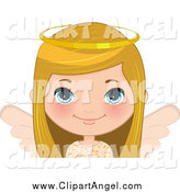 Illustration Vector Cartoon of a Blond White Angel Christmas Girl by Melisende Vector