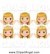 April 6th, 2015: Illustration Vector Cartoon of a Blond White Angel Christmas Girl Showing Different Expressions by Melisende Vector