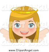 Illustration Vector Cartoon of a Blond White Female Angel Christmas Girl by Melisende Vector