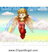 Illustration Vector Cartoon of a Brunette Angel Girl over a Rainbow by Graphics RF