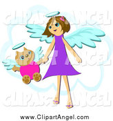 Illustration Vector Cartoon of a Cat and Angel Girl Holding Hands over a Cloud by Bpearth
