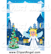 Illustration Vector Cartoon of a Christmas Angel Border with a Tree at Night by Visekart