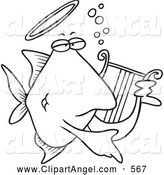 Illustration Vector Cartoon of a Coloring Page of an Angelfish Playing a Lyre by Toonaday