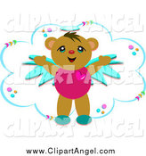 Illustration Vector Cartoon of a Cute Angel Bear and a Cloud by Bpearth