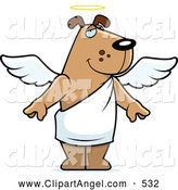 Illustration Vector Cartoon of a Cute Angel Dog with a Halo by Cory Thoman