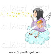 Illustration Vector Cartoon of a Cute Angel Girl Blowing Stars from a Cloud by BNP Design Studio