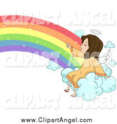 Illustration Vector Cartoon of a Cute Angel Girl Pointing on a Rainbow Cloud by BNP Design Studio