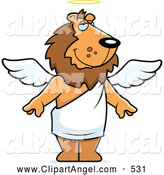 Illustration Vector Cartoon of a Cute Angel Lion with White Wings and a Halo by Cory Thoman