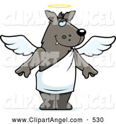 Illustration Vector Cartoon of a Cute Angel Wolf with a Halo by Cory Thoman