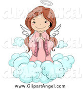 Illustration Vector Cartoon of a Cute Brunette White Angel Girl Praying on a Cloud by BNP Design Studio