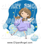 Illustration Vector Cartoon of a Cute Brunette White Angel Girl Swinging on a Cloud by BNP Design Studio
