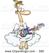 Illustration Vector Cartoon of a Cute Cartoon Angel Man Playing a Guitar by Toonaday