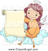 Illustration Vector Cartoon of a Cute Female Angel Holding a Scroll on a Cloud by BNP Design Studio