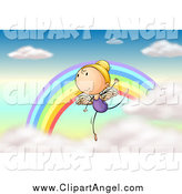 Illustration Vector Cartoon of a Dancing Angel Ballerina by a Rainbow by Graphics RF