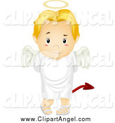 Illustration Vector Cartoon of a Deceitful Blond Angel Boy Trying to Hide a Devil Tail by BNP Design Studio