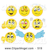 September 1st, 2013: Illustration Vector Cartoon of a Digital Set of Yellow Emoticons by Visekart