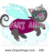 October 8th, 2013: Illustration Vector Cartoon of a Gray Angel Kitty on a Cloud by Bpearth