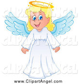 Illustration Vector Cartoon of a Happy Blond Girl Angel by Visekart
