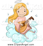 Illustration Vector Cartoon of a Happy Blond White Angel Girl Playing a Lute on a Cloud by BNP Design Studio