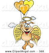 Illustration Vector Cartoon of a Happy Brown Dog Angel Floating in the Sky and Holding onto Heart Balloons by Dennis Holmes Designs