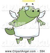 October 7th, 2013: Illustration Vector Cartoon of a Happy Chubby Green Lizard Angel by Cory Thoman