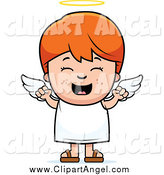 Illustration Vector Cartoon of a Happy Red Haired White Angel Boy by Cory Thoman