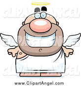 Illustration Vector Cartoon of a Happy Short Angel Man by Cory Thoman