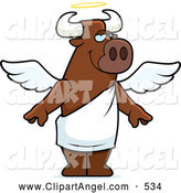 Illustration Vector Cartoon of a Happy Standing Cartoon Angel Bull by Cory Thoman