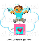 Illustration Vector Cartoon of a Jack in the Box Angel Boy Popping out over a Cloud by