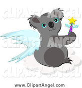Illustration Vector Cartoon of a Koala Angel on a Cloud by