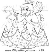Illustration Vector Cartoon of a Lineart Christmas Angel Girl with a Wand over Trees by Visekart