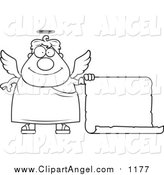 September 27th, 2015: Illustration Vector Cartoon of a Lineart Plump Male Angel with a Blank Scroll Sign by Cory Thoman