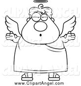 Illustration Vector Cartoon of a Lineart Shrugging Angel by Cory Thoman
