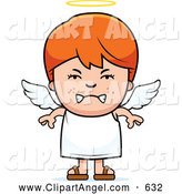 Illustration Vector Cartoon of a Mad Red Haired Angel Boy by Cory Thoman