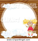 February 20th, 2014: Illustration Vector Cartoon of a Round Frame over Wood with a Blond Angel Girl by Graphics RF