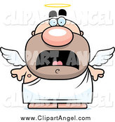 Illustration Vector Cartoon of a Scared Short Chubby Male Angel by Cory Thoman