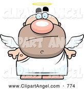 Illustration Vector Cartoon of a Skeptical Pudgy Male Angel by Cory Thoman