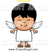 Illustration Vector Cartoon of a Smiling Cute Black Haired Angel Boy by Cory Thoman