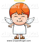 Illustration Vector Cartoon of a Smiling Happy Red Haired Angel Boy by Cory Thoman
