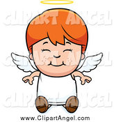 Illustration Vector Cartoon of a Smiling Happy Sitting Red Haired Angel Boy by Cory Thoman