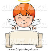 Illustration Vector Cartoon of a Smiling Red Haired White Angel Boy over a Banner by Cory Thoman