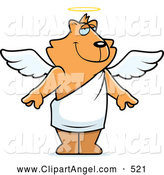 Illustration Vector Cartoon of a Standing Cartoon Orange Angel Cat by Cory Thoman
