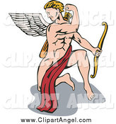 Illustration Vector Cartoon of a Strong Male Cupid Kneeling and Reaching for an Arrow by Patrimonio