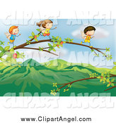 Illustration Vector Cartoon of a Tiny Angel Kids Running on Branches by Colematt
