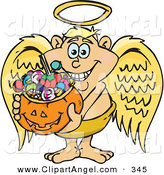 Illustration Vector Cartoon of a Trick or Treating Caucasian Angel Holding a Pumpkin Basket Full of Halloween Candy by Dennis Holmes Designs