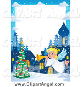 Illustration Vector Cartoon of a Winter Christmas Angel Border by Visekart
