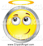 Illustration Vector Cartoon of a Yellow and Chrome Angel Smiley Emoticon Face with a Halo by Beboy