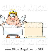 Illustration Vector Cartoon of ACute Plump Blond Male Angel with a Blank Scroll Sign by Cory Thoman
